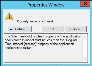 AppPool IdleTime-out property error