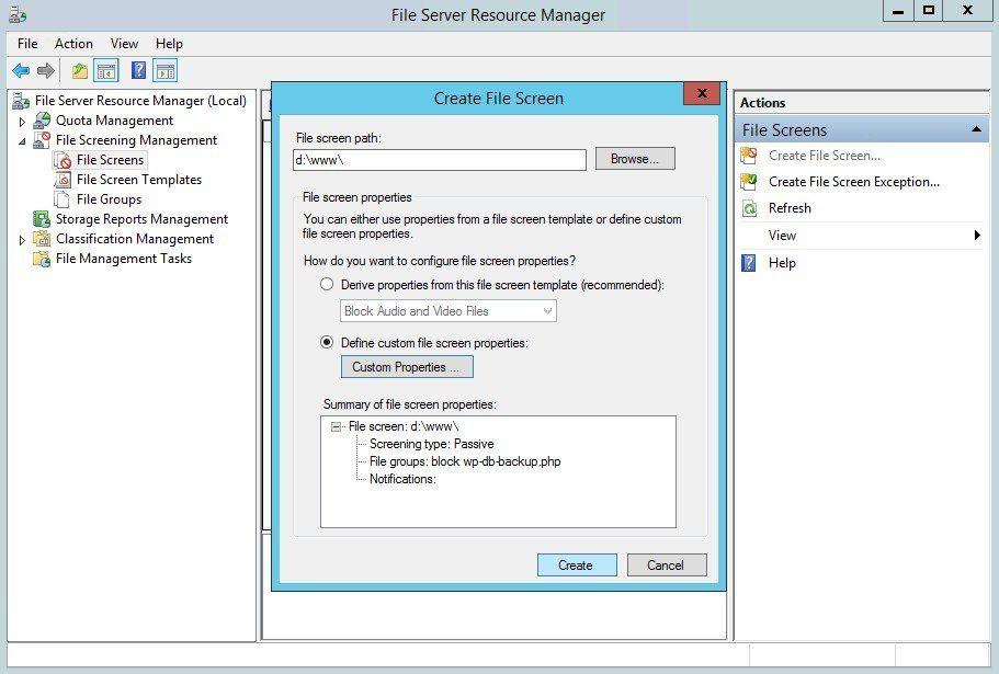 Summary of file screen properties