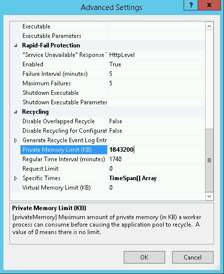 WSUS Application Pool IIS Advanced Settings