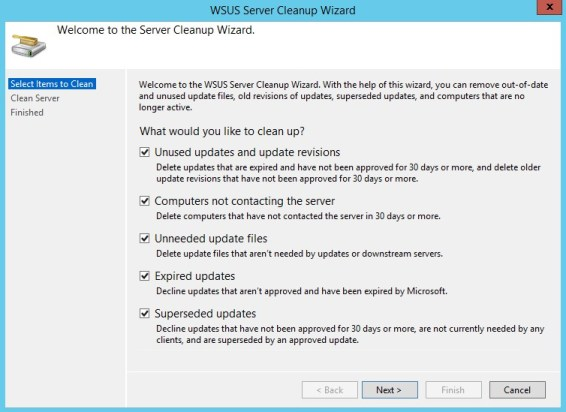 WSUS Server Cleanup Wizard screen 1