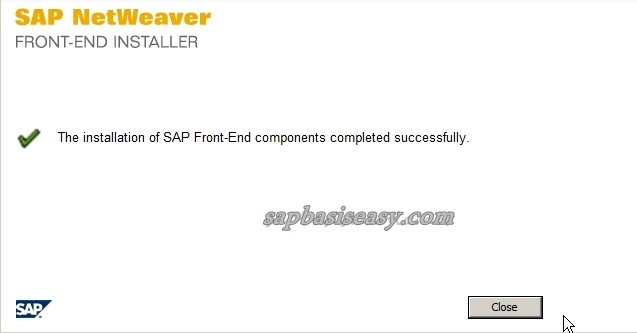 Finish installing SAP GUI