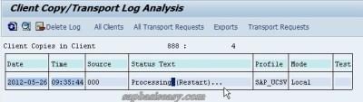 Available SAP Client Copy Logs