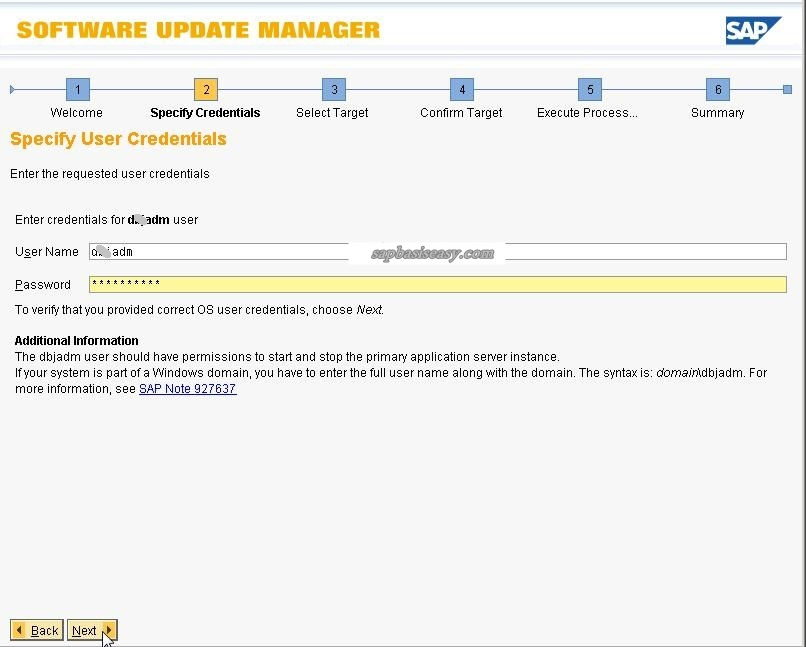User / password for Software Update Manager (SUM)