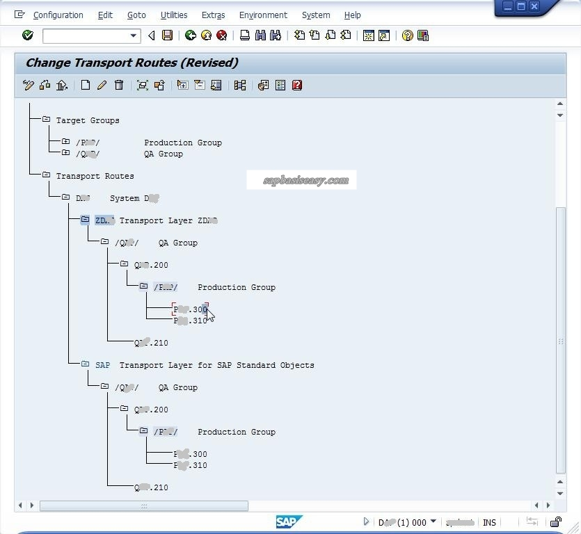 Fully configured SAP Transport Route