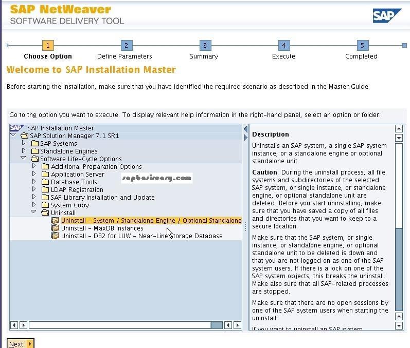 How to uninstall SAP installation - SAP Basis Easy