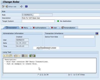SAP Role description
