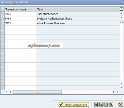 Assigned SAP transactions for Role