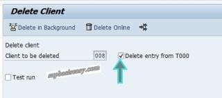 Option to delete SAP Client
