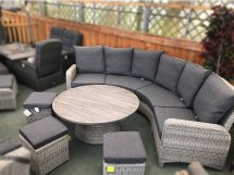 curved rattan sofa set in silver