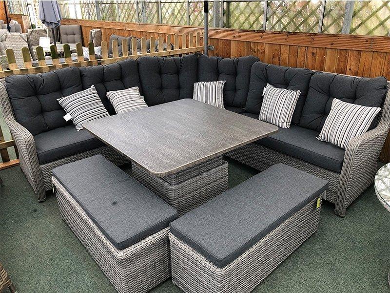 larne rattan corner sofa set in silver grey