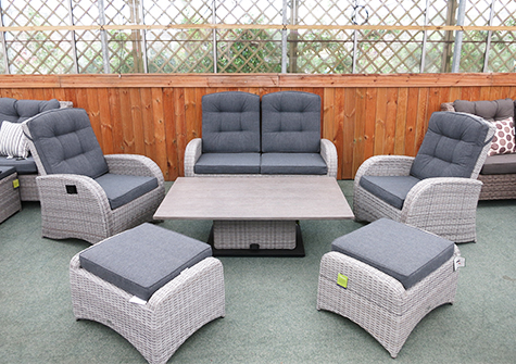 aluminium reclining garden chairs uk comfy chair and ottoman furniture: rattan & sets