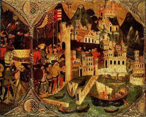 Italia . L'entrata di Carlo di Durazzo a Napoli in un affresco del sec. XIV (New York, Metropolitan Museum).De Agostini Picture Library