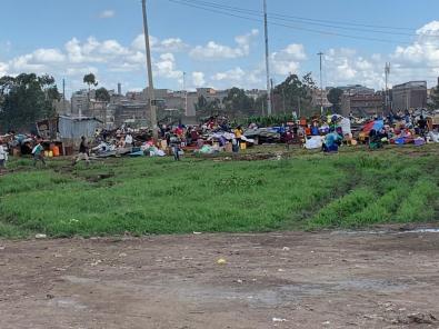 Ciò che resta dell'area in cui sono avvenute le demolizioni a Demolizioni a Kariobangi, slum di Nairobi