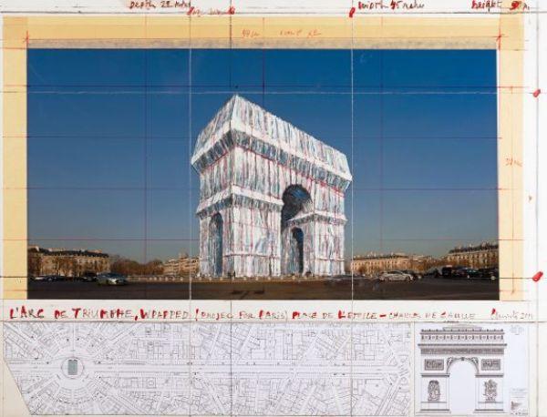 Il bozzetto dell'impacchettamento dell'Arco di Trionfo, a Parigi, di Christo