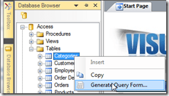 Database Browser - Generate Query Form