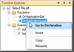 Function Explorer Context Menu