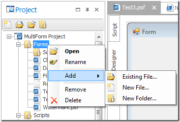 Use the context menu to create folders and files.