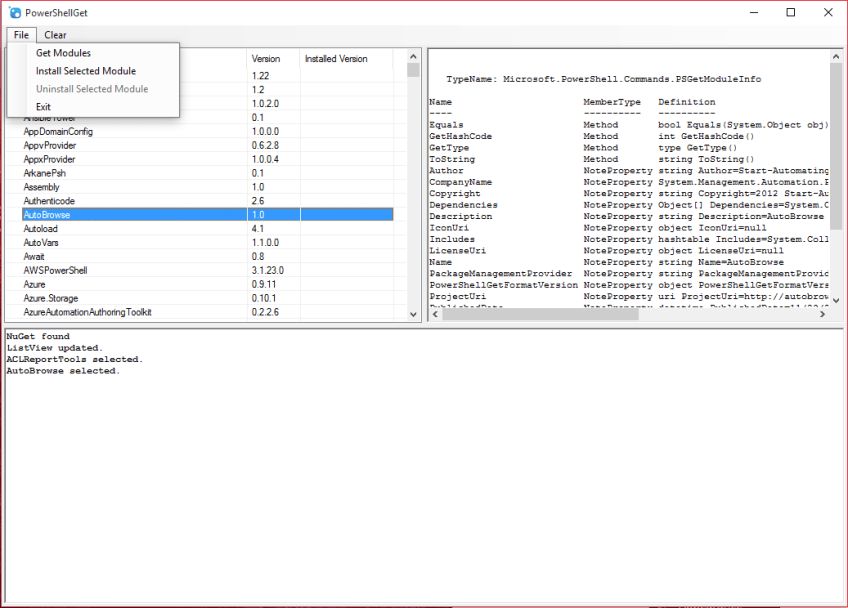 PowerShellGet-GUI Interface