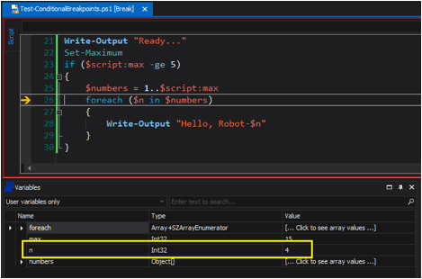 when the variable breakpoint is triggered on a change in $n, and the value of $n is 4, the script breaks into the debugger.