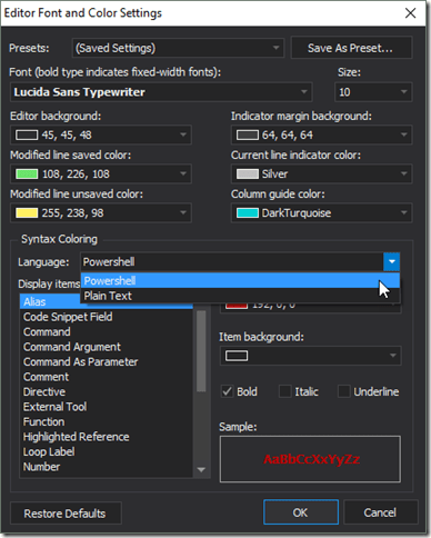 Editor Font and Color Settings