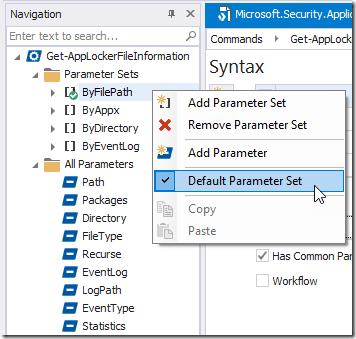 Navigation - Default ParameterSet