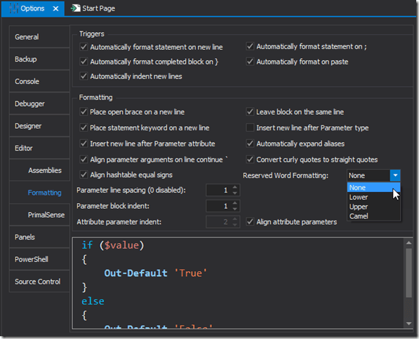 Options Reserved Word Formatting