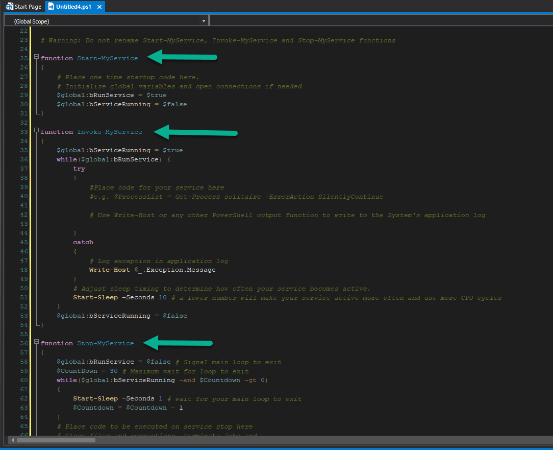 New powershell service template for primalscript 2018 sapien blog please do not rename these functions you can add your own functions as you see fit but these three functions and their names are essential to make your maxwellsz