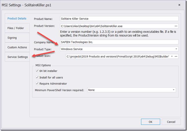 Product Type Windows Service