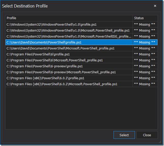 Select Destination Profile