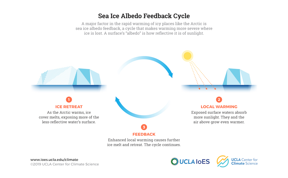 Climate change creates a dangerous feedback loop: as bright ice melts, dark waters absorb sunlight and have a warming effect, melting more ice.