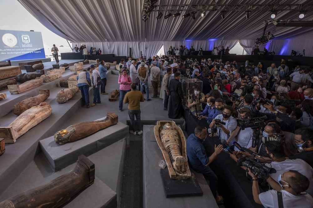 At a major press event in November, Egyptian officials opened a sarcophagus recently discovered in Saqqara—one of a trove of more than 100 ancient coffins.