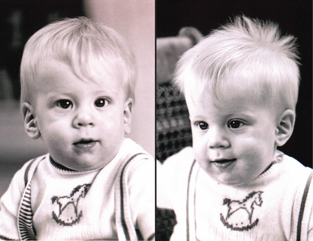 Identical twins Stephen and Peter Nash, pictured here as babies.