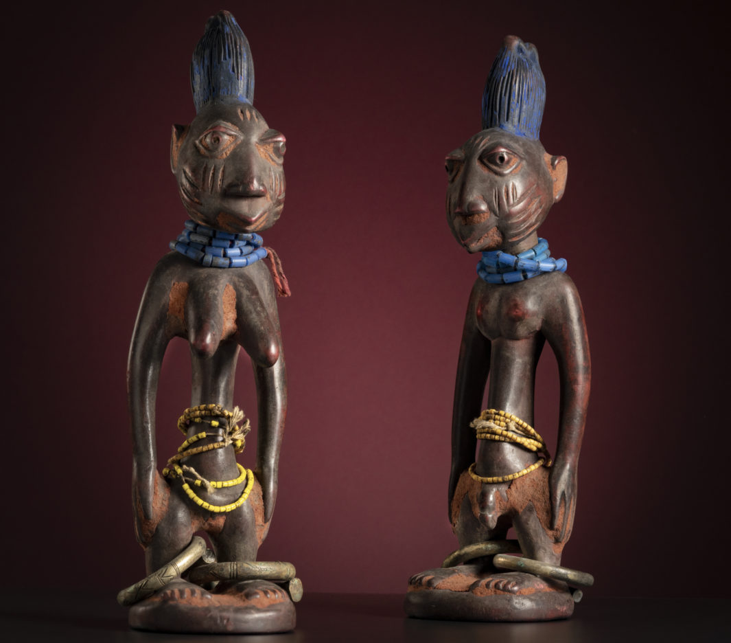 The Yoruba twin statues, or ère ìbejì, pictured here were likely created for the international art market.