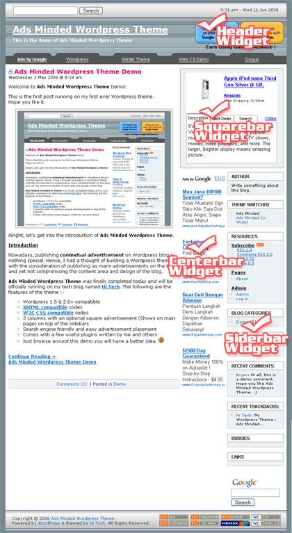 AdsMinded WordPress Theme Widgetized