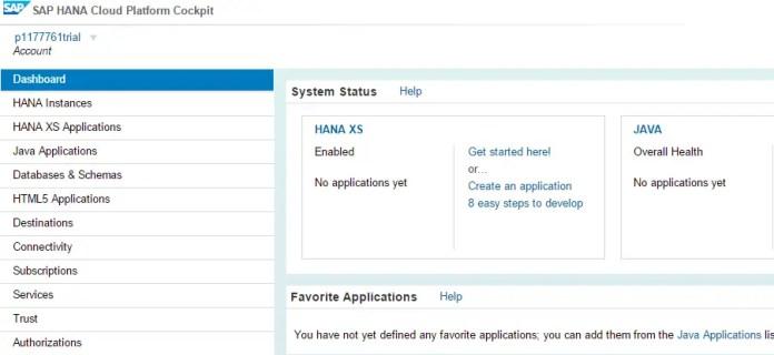 SAP HANA Cloud Platform Cockpit Dashboard