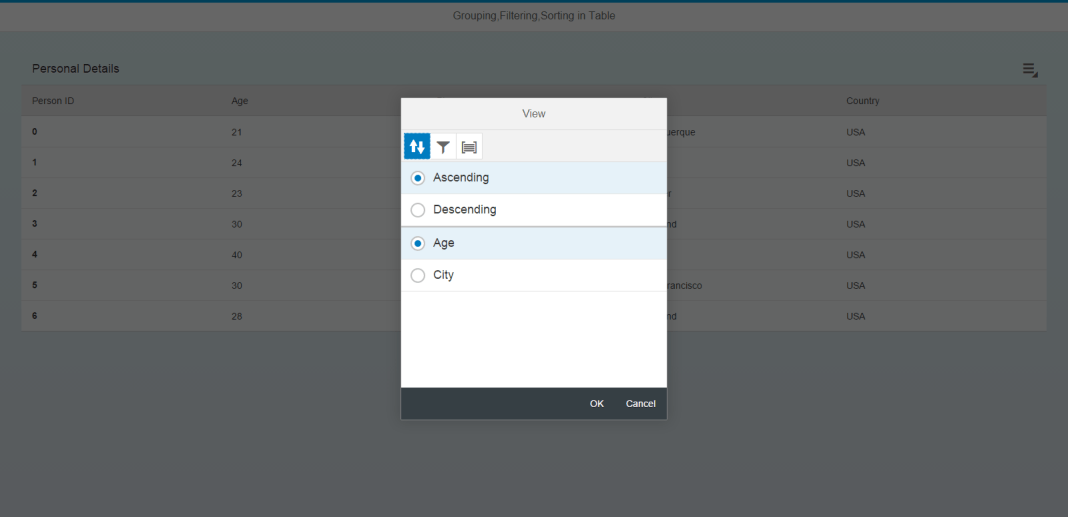 Table View Settings Dialog