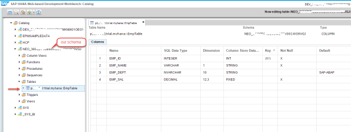 SAP HANA Table in Schema