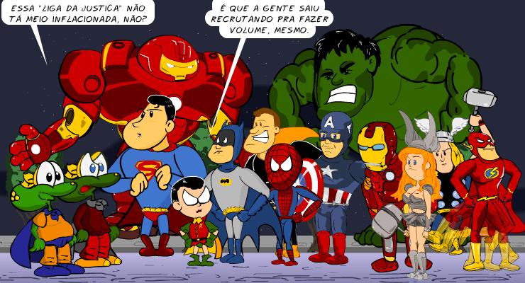 liga da justiça, piada, tiras, humor, HQ, quadrinhos, infantil