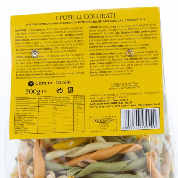 Fusilli Colorati OroGiallo 500g