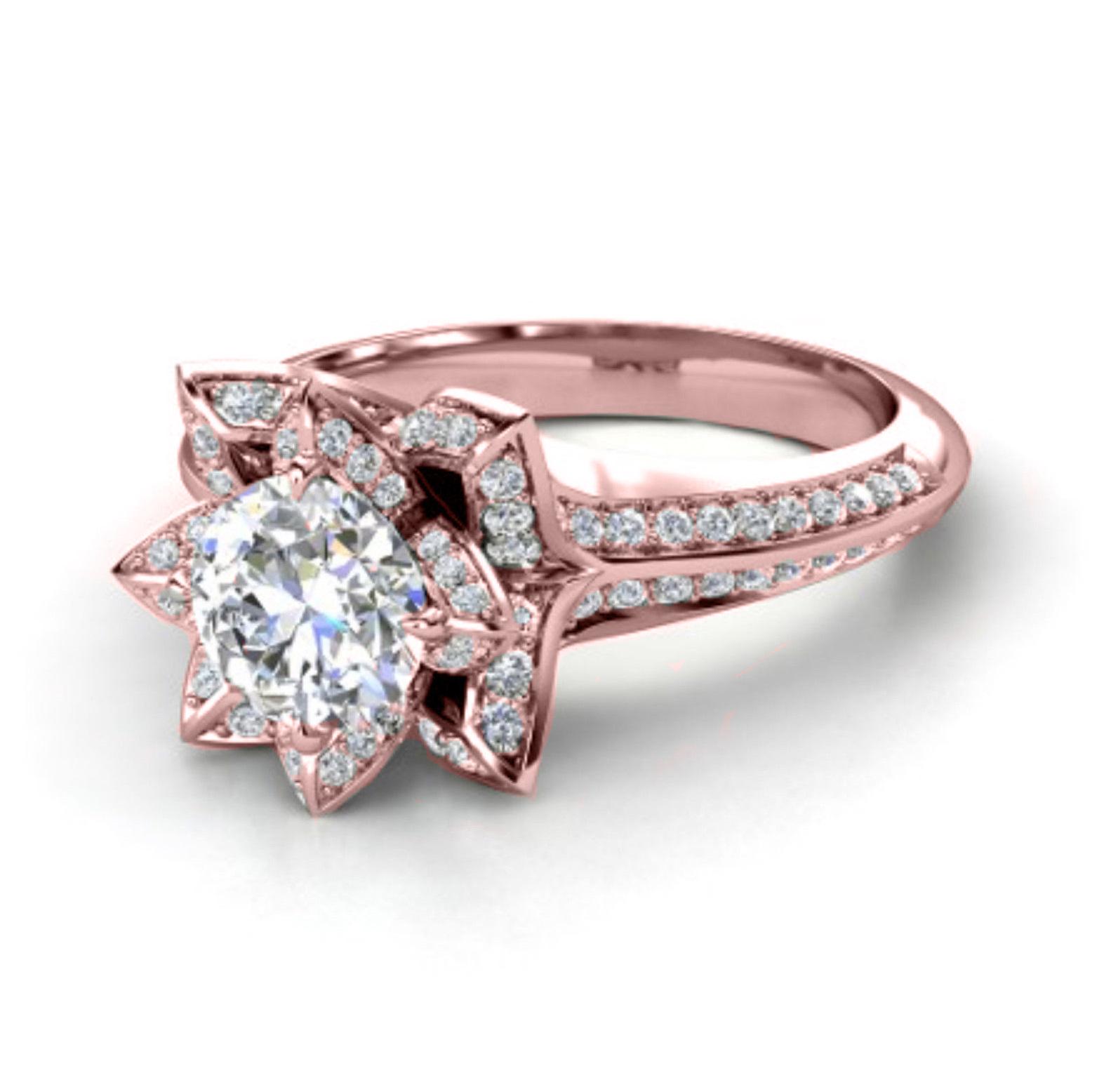 'Aspen' 2.10ct Flower White, Yellow or Rose Engagement Ring