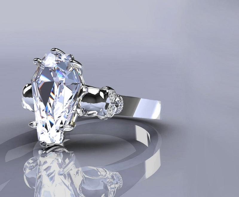 Nightfall Natural Sterling Silver Skull Coffin Cut Ring