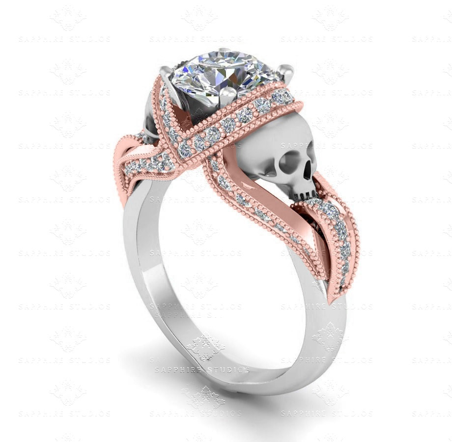 'Aphrodite' 1.60ct White Gold and Rose Gold Skull
