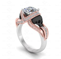'Aphrodite' 1.60ct White, Rose and Black Skull Engagement Ring