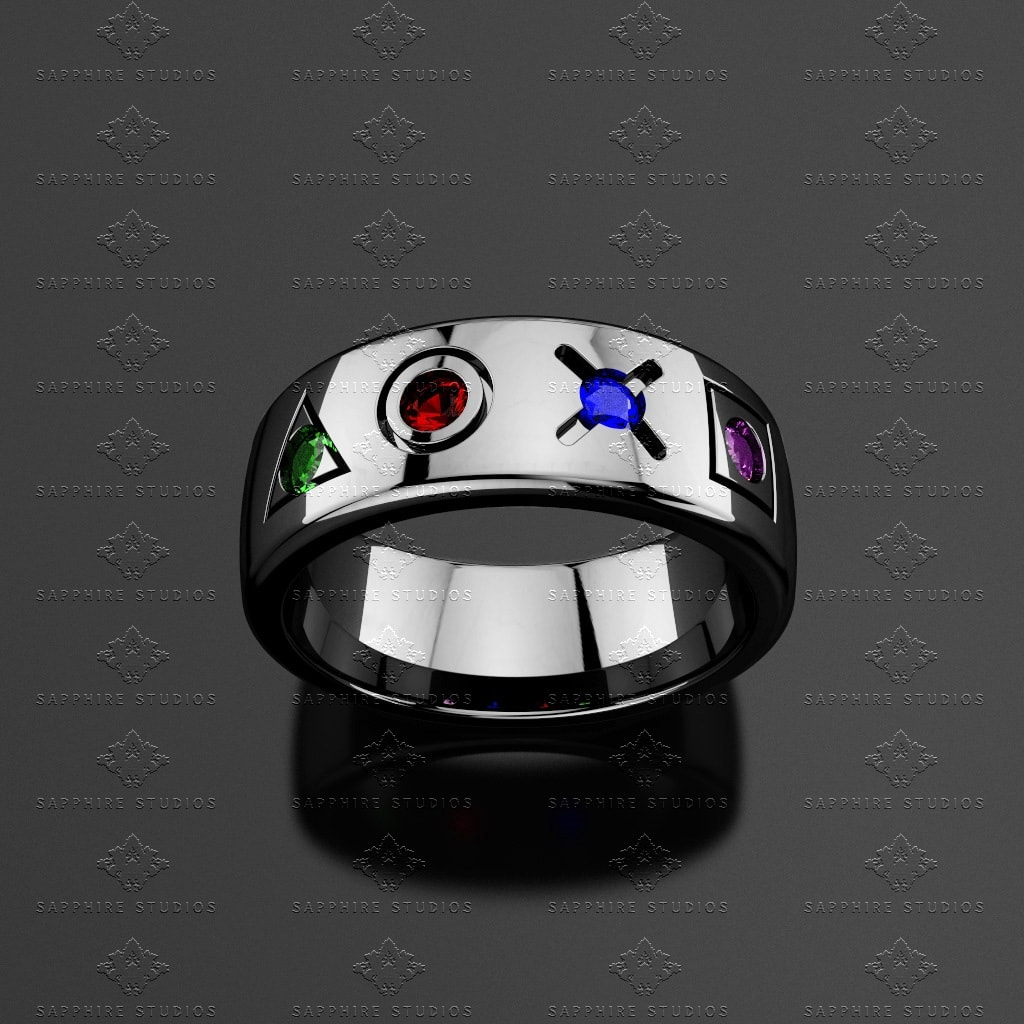 White Rings And Black Gold Wedding Mens