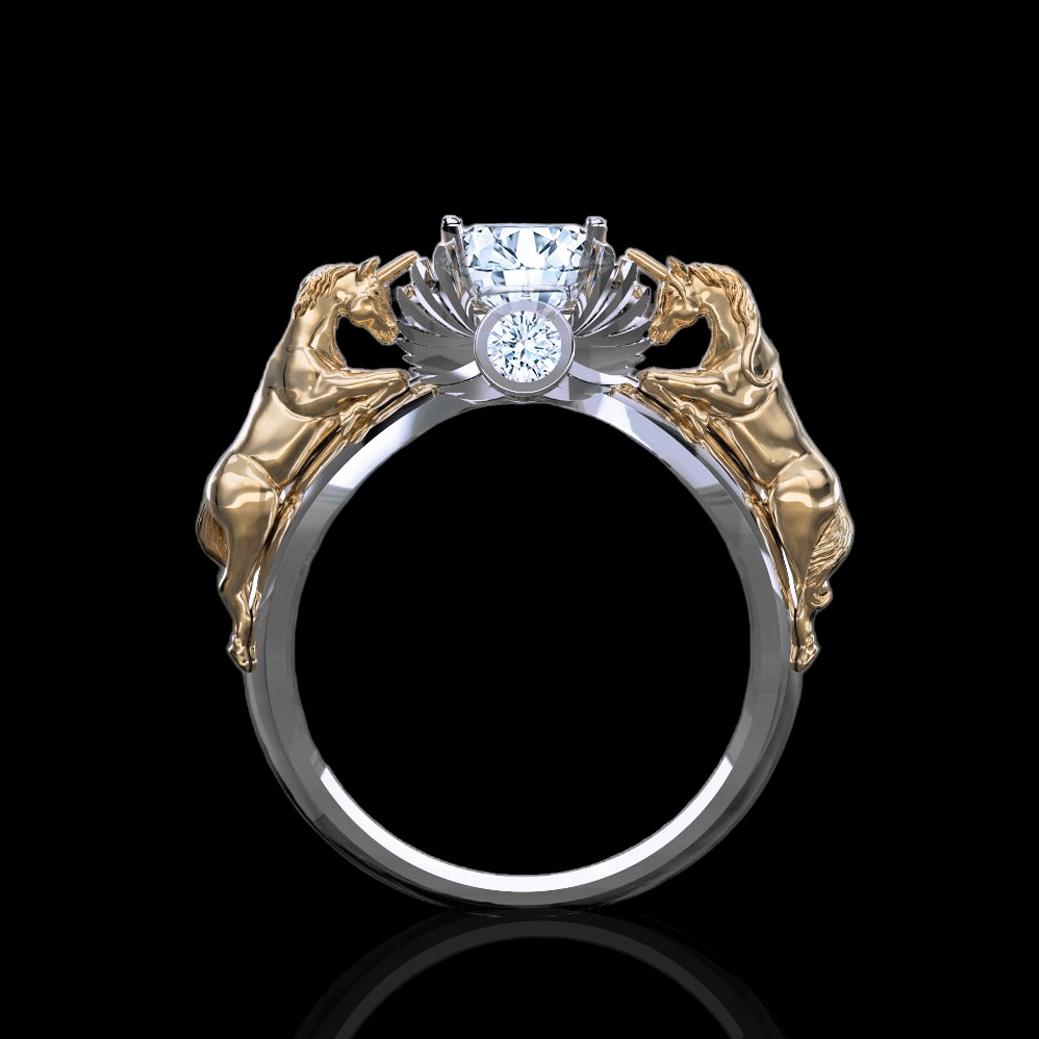 November Verse 120ct Natural White Diamond Gold Unicorn