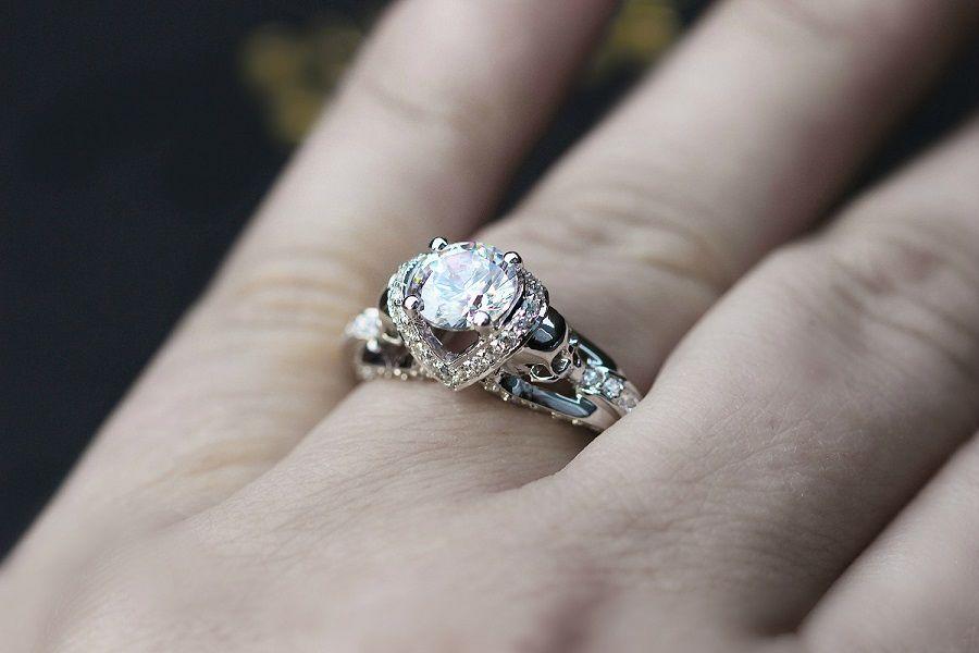 All White Diamond Skull Sterling Silver Ring Set
