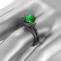 Emerald Viper 2.90 ct Black Gold Snake Ring