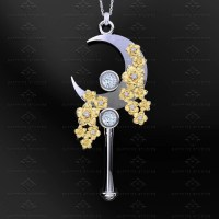 'Crescent Moon' Natural Diamond Gold Sailor Moon Necklace