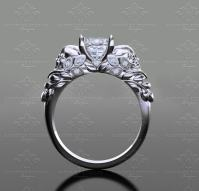 'Venice ' 1.30ct Princess Cut White Gold Skull Engagement Ring