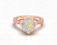 'Callist 041' 1.45ct Opal and Diamonds Gold Flower ...